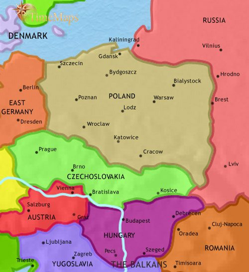 Map of East Central Europe at 1960CE
