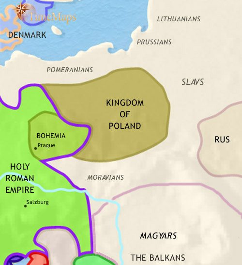 Map of East Central Europe at 979CE