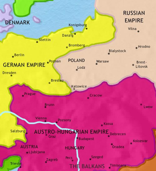 Map of East Central Europe at 1914CE