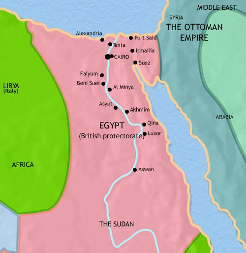 Map of Egypt at 1914CE
