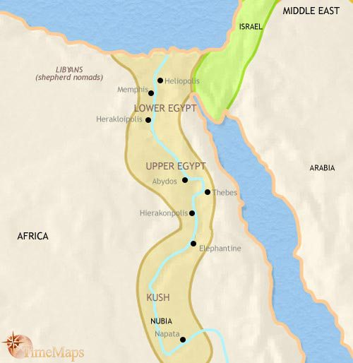 Map of Egypt at 1000BCE