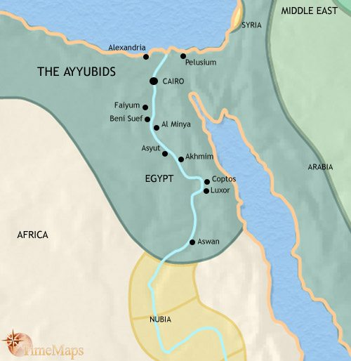 Map of Egypt at 1215CE