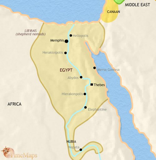 Map of Egypt at 1500BCE