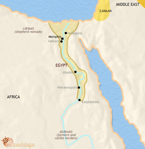 Map of Egypt at 2500BCE