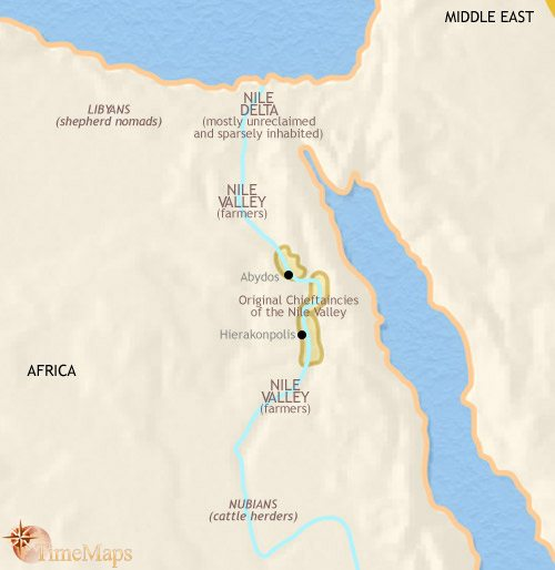 Map of Egypt at 3500BCE