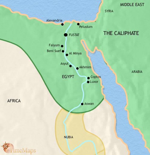 Map of Egypt at 750CE