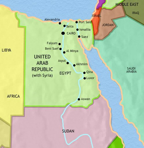 Map of Egypt at 1960CE