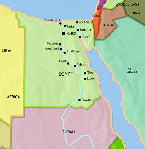 Map of Egypt at 2005CE
