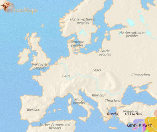Map of Europe at 1000BCE