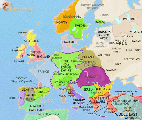 Map of Europe at 1215CE