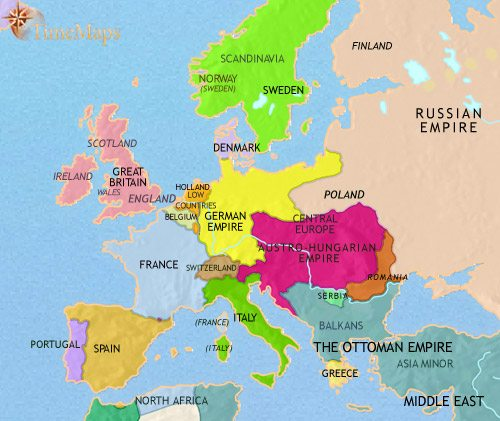 Map of Europe at 1871CE