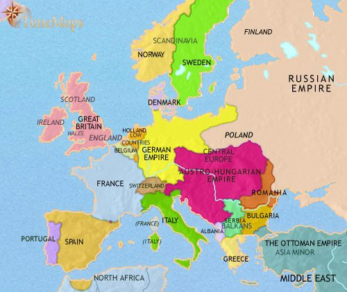 Map of Europe at 1914CE