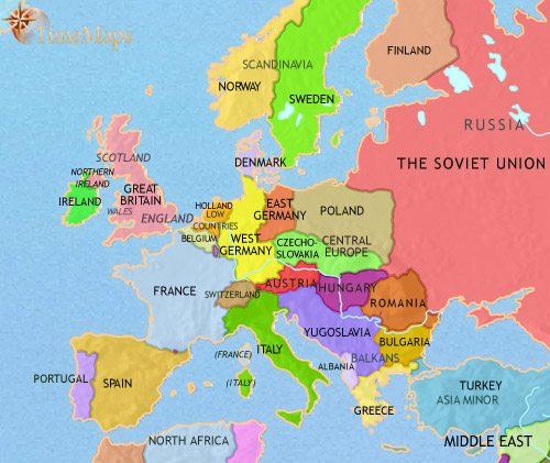 Map of Europe at 1960AD | TimeMaps