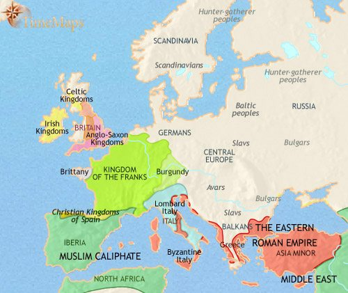 Map of Europe at 750CE