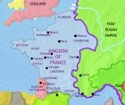 Map of France at 1215CE