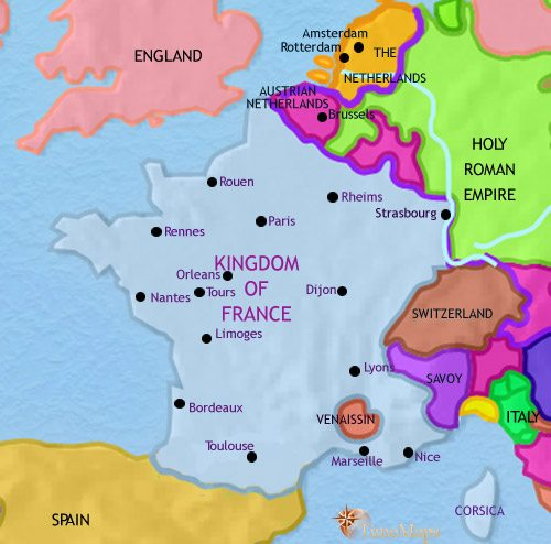 Map of France at 1789AD TimeMaps