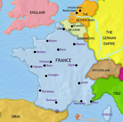 Map of France at 1914AD TimeMaps