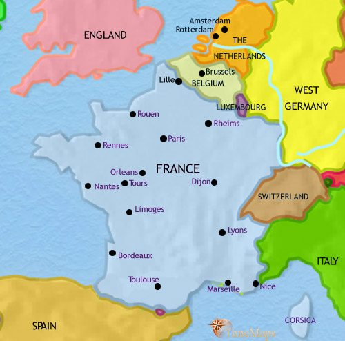 Map of France at 1960CE
