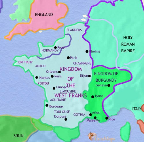Map of France at 979CE