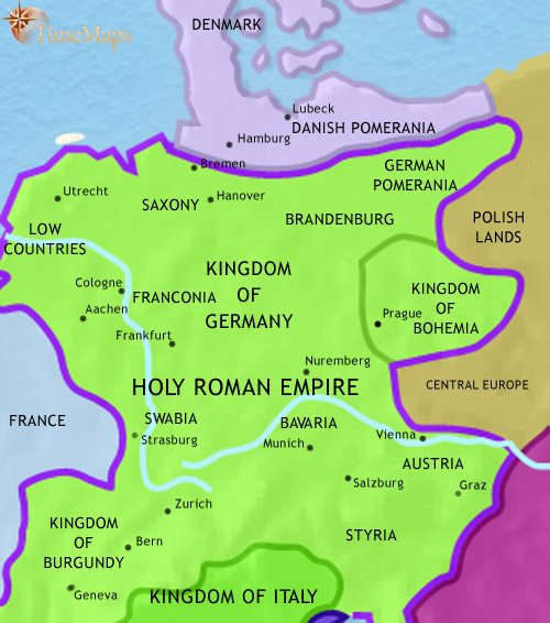 Map of Germany at 1215CE