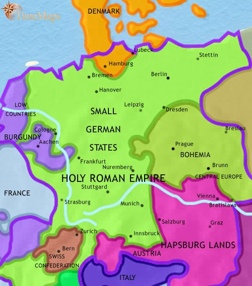map of germany at 1453ce