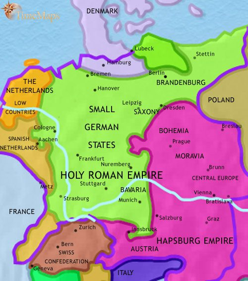 map of germany at 1648ce