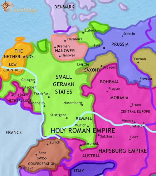 Map of Germany at 1789CE