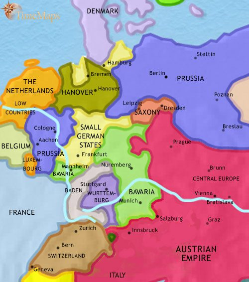 map of germany at 1837ce