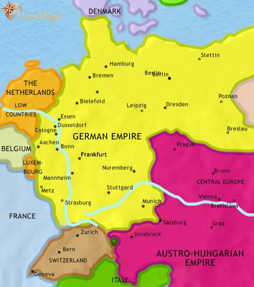 Map Of Germany And Surrounding Countries.Map Of Germany At 1914ad Timemaps
