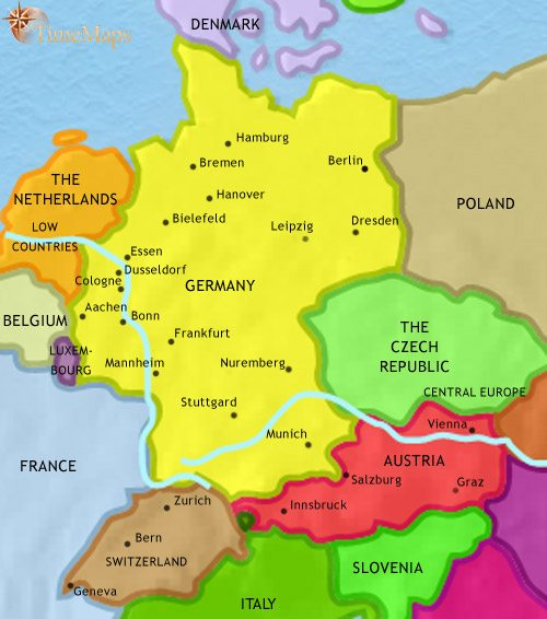 Map Of Germany And Surrounding Countries.Map Of Germany At 1837ad Timemaps
