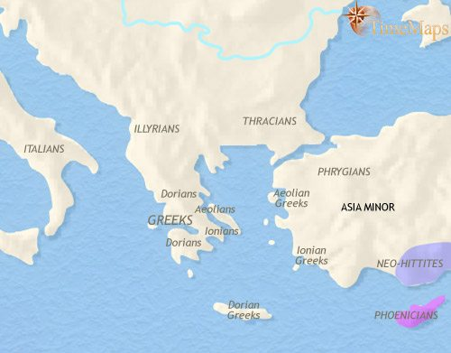Map of Greece and the Balkans at 1000BCE