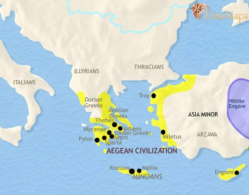 Ancient Greece Map With Cities.Ancient Greece 1500 Bce