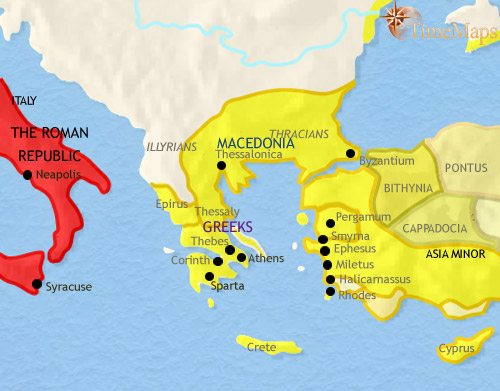 Map of Greece and the Balkans at 200BCE
