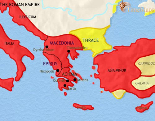 Map of Greece and the Balkans at 30BCE