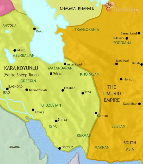 Map of Iran at 1453CE