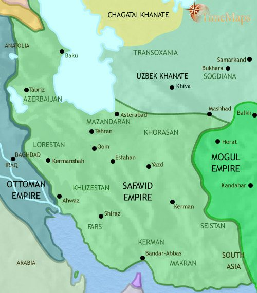 map of iran at 1648ce