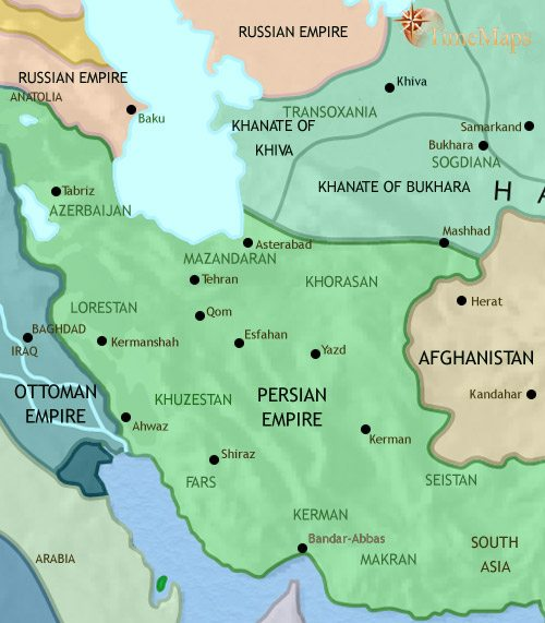 Map of Iran at 1837CE