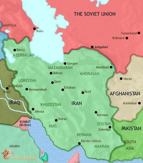 Map of Iran at 1960CE