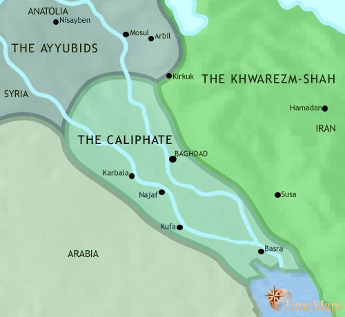 Map of Iraq at 1215CE