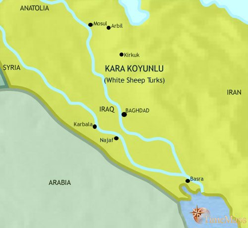 Map of Iraq at 1453CE