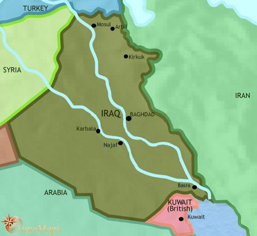 Map of Iraq at 1960CE