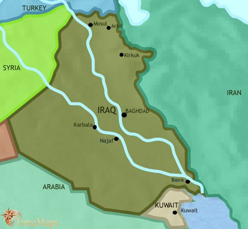 Map of Iraq at 2005CE