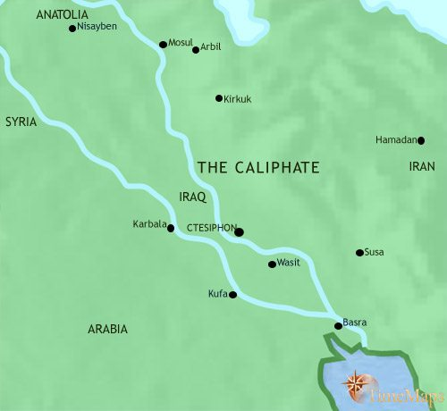 Map of Iraq at 750CE