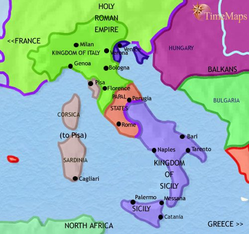 Map of Italy at 1215CE