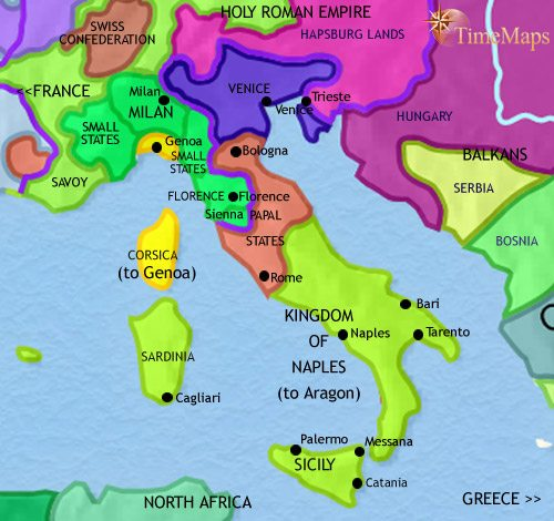 Map Of Italy With Towns.Map Of Italy At 1453ad Timemaps