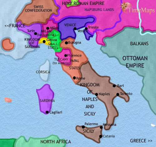 Map of Italy at 1789CE