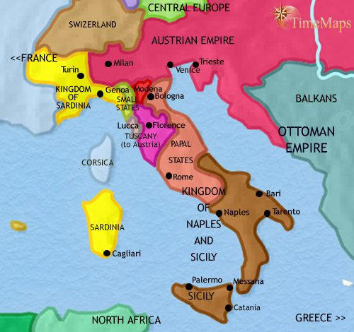 Map of Italy at 1837CE