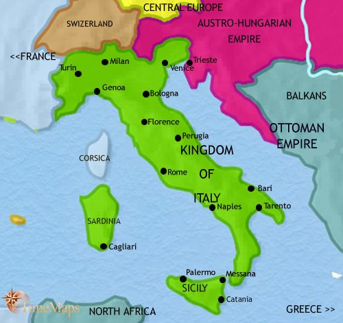 Map of Italy at 1871CE