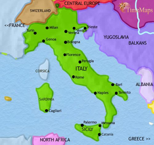 Map of Italy at 1960CE