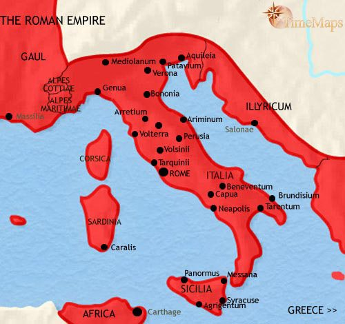 Map of Italy at 500BC | TimeMaps Carthage Rome Map on